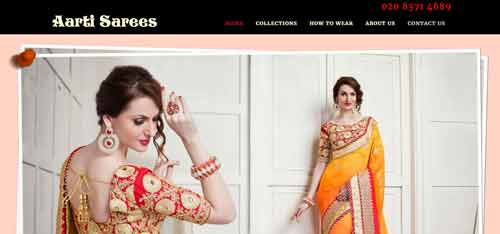 Aarti Sarees home page